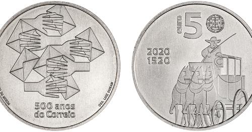 """INCM –5 Euros """"500 ANOS DO CORREIO"""""""