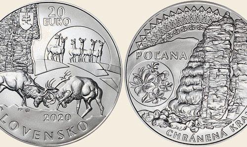 """Mincovňa Kremnica – Minca Ag 20 €/2020 """"Chránená krajinná oblasť Poľana"""""""