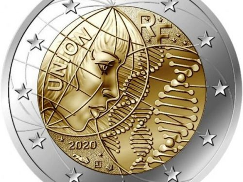 """G.U. Unione Europea 2020/C 395/03 del 20 novembre: faccia nazionale della nuova moneta commemorativa da 2 euro 2020 emessa dalla Francia """"Ricerca medica"""""""