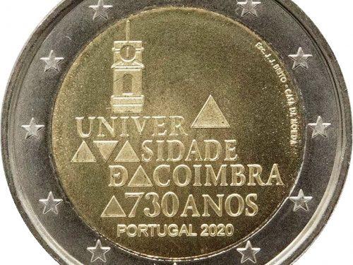 """G.U. Unione Europea 2020/C 380/05 dell'11 novembre: faccia nazionale della nuova moneta commemorativa da 2 euro 2020 emessa dal Portogallo """"730º anniv. Università Coimbra"""""""