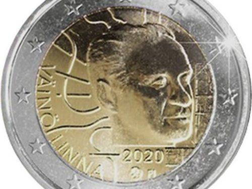 """G.U. Unione Europea 2020/C 393/04 del 18 novembre: faccia nazionale della nuova moneta commemorativa da 2 euro 2020 emessa dalla Finlandia """"100° anniv. nascita Väinö Linna"""""""