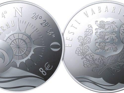 Eesti Pank – Hansalinn Pärnule pühendatud hõbedast meenemündi kujunduse autor on Aidi Mesi