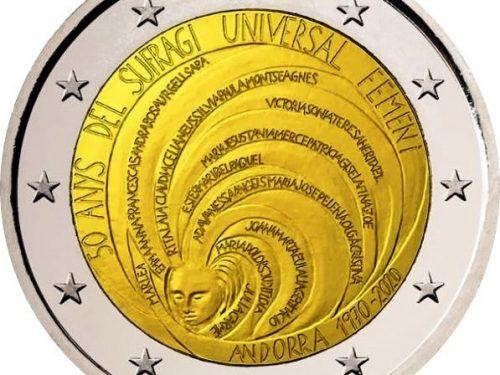 """ANDORRA 2020 > 2 € commemorativo """"50° anniv. Suffragio universale femminile"""""""