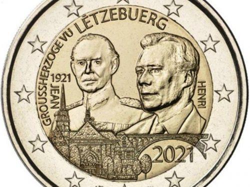 """G.U. Unione Europea 2020/C 444/04 del 22 dicembre: faccia nazionale della nuova moneta commemorativa da 2 euro 2021 emessa dal Lussemburgo """"100° anniv. nascita Granduca Jean"""""""