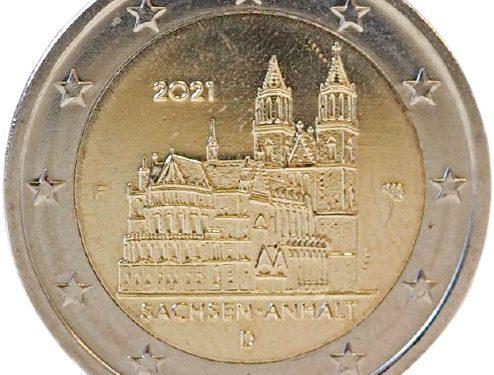 "GERMANIA 2021 > 2 € commemorativo Sachsen-Anhalt: ""Duomo di Magdeburgo"""