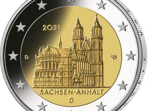 """G.U. Unione Europea 2021/C 20/04 del 19 gennaio: faccia nazionale della nuova moneta commemorativa da 2 euro 2021 emessa dalla Germania """"Sachsen-Anhalt: Duomo di Magdeburgo"""""""