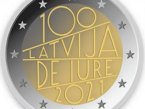 """Latvijas Banka – 2 eiro piemiņas monēta """"Latvija de iure 100"""""""