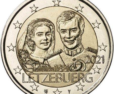 """G.U. Unione Europea 2021/C 20/06 del 19 gennaio: faccia nazionale della nuova moneta commemorativa da 2 euro 2021 emessa dal Lussemburgo """"40° anniv. Matrimonio Granduca Henri e Granduchessa Maria Teresa"""""""