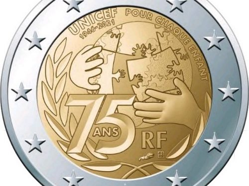 """FRANCIA 2021 > 2 € commemorativo """"75° anniv. UNICEF"""""""