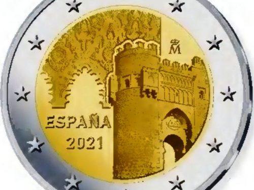 """G.U. Unione Europea 2021/C 96/08 del 22 marzo: faccia nazionale della nuova moneta commemorativa da 2 euro 2021 emessa dalla Spagna """"Centro storico di Toledo"""""""