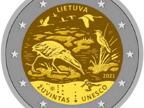 """G.U. Unione Europea 2021/C 104/04 del 26 marzo: faccia nazionale della nuova moneta commemorativa da 2 euro 2021 emessa dalla Lituania """"Riserva di biosfera di Žuvintas"""""""
