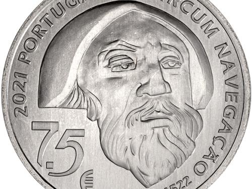 """INCM – 7,5 euros """"V CENTENÁRIO DA VIAGEM DE CIRCUM-NAVEGAÇÃO DE FERNÃO DE MAGALHÃES – MACTAN 1521"""""""